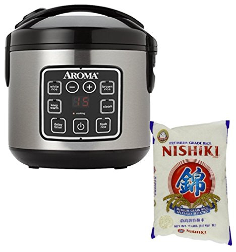 Bundle Includes 2 Items - Aroma Housewares ARC-914SBD 8-Cup (Cooked) Digital Cool-Touch...