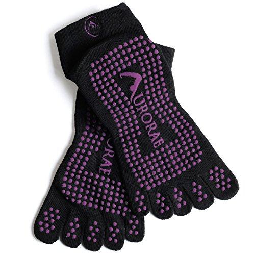 "Cheap Aurorae Yoga ""The Ultimate"" Non-Slip 5 Toe Sock (Black With Purple Print)"