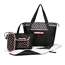 MOMMORE 4 PCS Set Diaper Bag with Baby Changing Pad Small Tote Bag Pink Dot