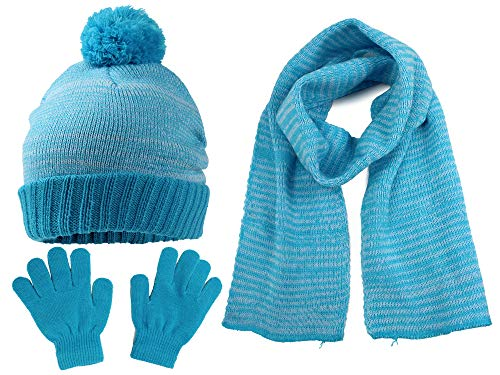 S.W.A.K Kids Girls Knit Pompom Beanie Hat Scarf and Gloves Set One Size Fits Most Turquoise Blue