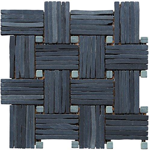 Intrend Tile LS013-S-sample Landscape Wonder Black Slate Basketweave Interlocked Mosaic Tile Sheet, Sample Only Only, Grey & Black