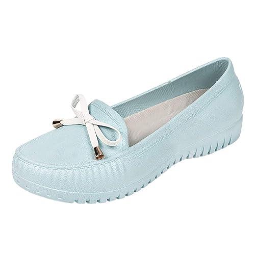 Yudesun Moda Mujer Mocasines Zapatos - Suela Goma Boca Baja Casuales Planos Antideslizantes Comodidad Tobillo Sueltos Impermeables Zapatos para Caminar: ...