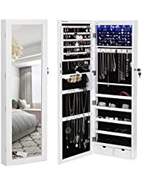 6 LEDs Mirror Jewelry Cabinet Lockable Wall/Door Mounted Jewelry Armoire Organizer with Mirror 2 Drawers White UJJC93W
