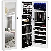 SONGMICS 6 LEDs Mirror Jewelry Cabinet Lockable Wall/Door...