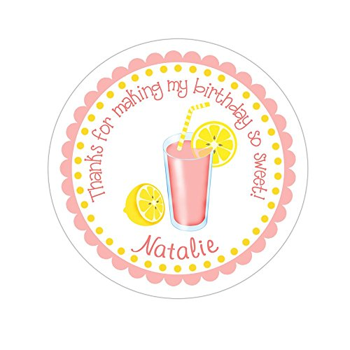 (Personalized Customized Birthday Party Favor Stickers - Pink Lemonade - Round Labels - Choose Your Size)