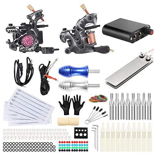 DFGRGEER Professional Tattoo Kits Complete Set 2 Tattoo Machine Gun Tattoo Power Needles for Tattoo Supply TK201-29,TK201-29 - Machine Complete Power Needle