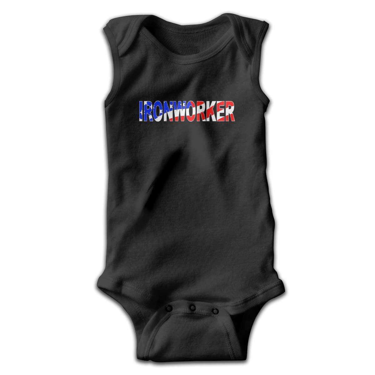 Mrshelp Ironworker USA Flag Sleeveless Infant Jumpsuit Cute Toddler Summer Bodysuits