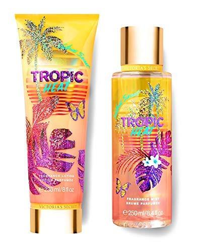 Victorias Secret Cashmere - Victorias Secret Tropic Dreams Fragrance Mist and Lotion Set (2PC) - Summer Scent 8.4 fl oz & 8 fl oz (Tropic Heat)