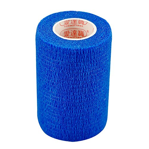Pack of 3 Rolls Waterproof Self Adhesive Bandage Tape Finger Joints Wrap Sports Care (3 inch*6yds, Blue) -