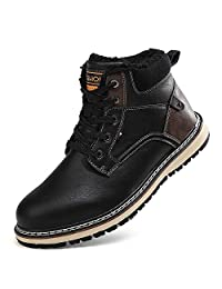 Lefus Mens Snow Boots Hight Top Winter Boots Outdoor Warm Casual Sneakers Waterproof Shoes