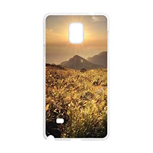 {Funny Series} Samsung Galaxy Note 4 Case Mountain Top Meadow, Girl Case Okaycosama - White