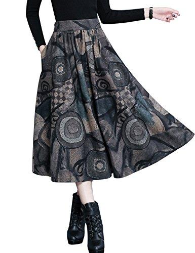 Tanming Women's A-Line Print Wool Blend Midi Skater Skirt (Large, Grey)