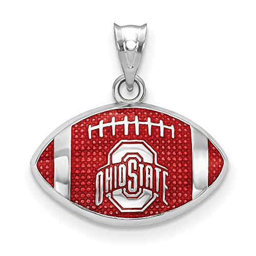 Sterling Silver Ohio State University NCAA Ohio Jewelry Pendants & Charms Red 17 mm 19 mm The Ohio State Univ. Enameled Football Pendant ()