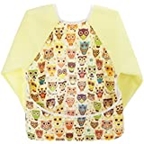 Hi Sprout Infant Toddler Baby Waterproof Sleeved Bib, Bib with Sleeves&Pocket,6-24 Months, Owl League