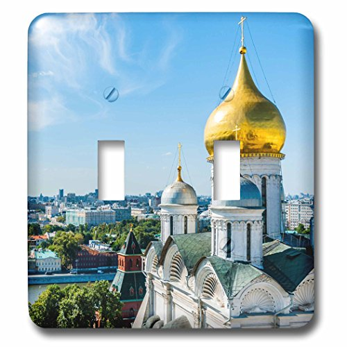 (3dRose Alexis Photography - Moscow Kremlin - Moscow Kremlin - Archangel cathedral dome and the city - Light Switch Covers - double toggle switch (lsp_270895_2))