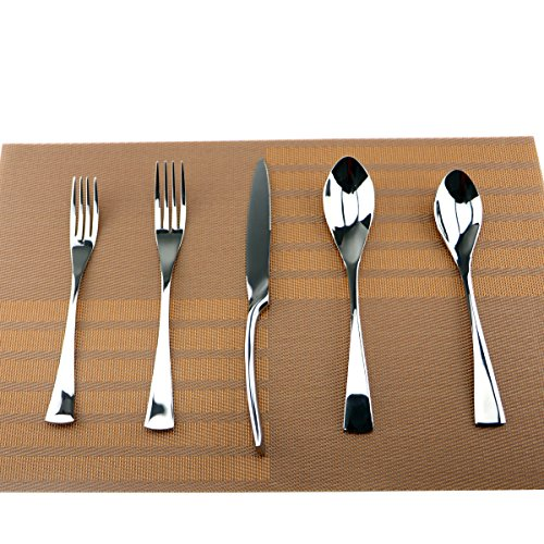 Uniturcky Silver Hammered Mirror Flatware Set,20 Piece Service for 4,Cutlery for Home Kitchen Restaurant Hotel (Flatware Unique)