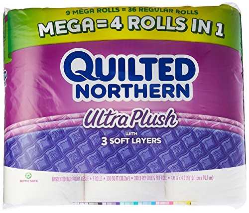 Quilted Northern Ultra Plush Toilet Paper, 9 Mega Rolls, Bath Tissue