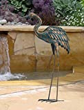CHSGJY Copper Patina Crane Large Yard Stake 44inches Antiqued Finish Heron Head down Crane Yard Garden Outdoor Living Decor