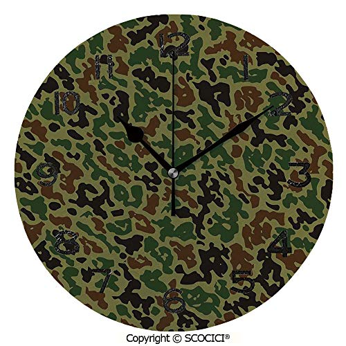 SCOCICI 10 inch Round Clock Military Summer Camouflage Pattern Grungy Texture Hidden in Jungle Retro Style Unique Wall Clock-for Living Room, Bedroom or Kitchen -
