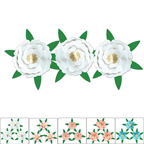 (ONE PHOENIX DIY Pearl Cardstock Crafts Handmade Paper Flowers for 3D Baby Room Wall Decor, Birthday Party Decorations, Unicorn Theme Ornament - 8 Inch x 3 with 3 Leaves - White)