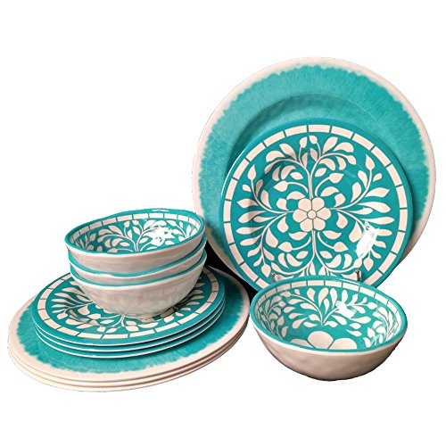 Dinnerware Set for 4 - Melamine 12 Piece Dinner Dishes Set for Camping Use, Lightweight, Dishwasher Safe, Green by Yinshine (Image #1)