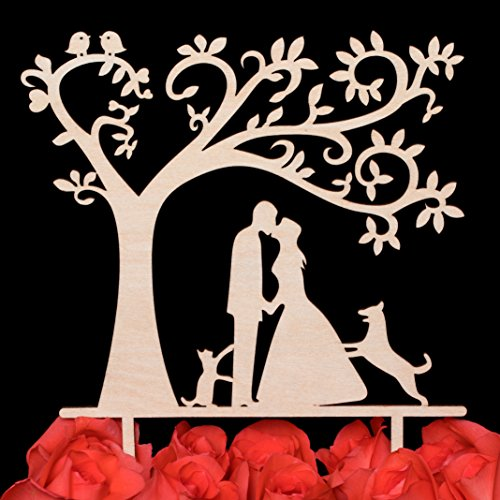 Price comparison product image LOVENJOY Gift Box Pack Bride and Groom with Dog and Cat Silhouette Tree Wedding Engagement Cake Topper Rustic Wood (5.3-inch)