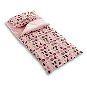 Thro by Marlo Lorenz 3714 Cupcakes Sleeping Bag with Attached Pillow, Pink/Multicolor