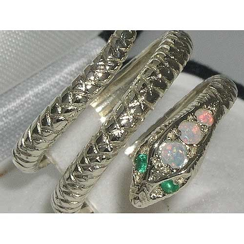 925 Sterling Silver Natural Opal and Emerald Womens Band Ring - Sizes 4 to 12 Available