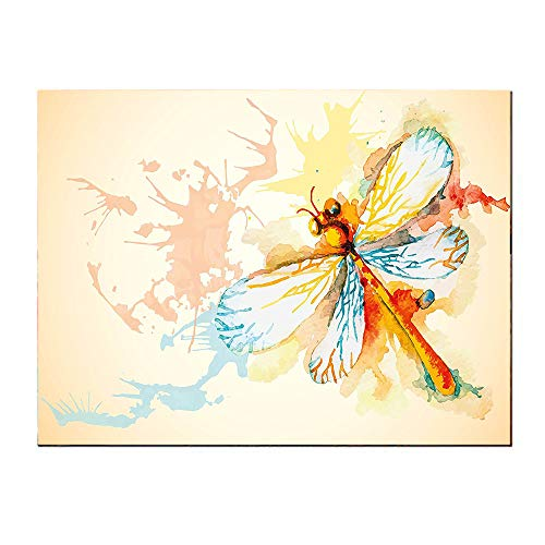 SATVSHOP Home decoration-24Lx24W-Dragonfly Watercolor Moth with Branch Wings on Abstract Backdrop Light Yellow Peach and Orange.Self-Adhesive backplane/for Living Room corridors.