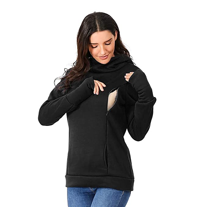 fc7ffc7e3d9d3 Women's Nursing Maternity Hoodie Sweatshirts Winter Long Sleeves Solid  Zipper Breastfeeding Shirt Tops (Black,