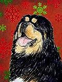 Caroline's Treasures SS4719CHF Tibetan Mastiff Red Green Snowflakes Holiday Christmas Canvas House Flag