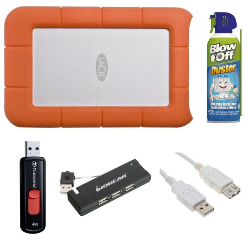 LaCie Rugged USB 3.0 7200rpm 500 GB Mini Disk Portable Hard Drive 301556 + 4GB Flash Drive + 4-Port USB 2.0 Hub + Canned Air Duster 8oz + USB Extension Cable, Best Gadgets