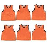 Crown Sporting Goods Scrimmage Pinnies with Mesh Storage Bag, 6 Pack, Orange