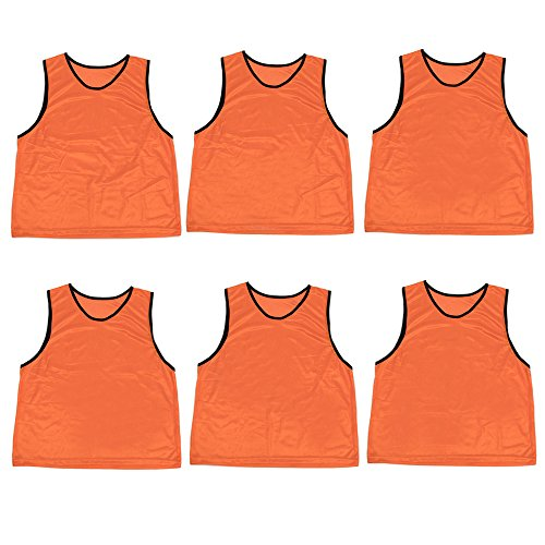 Pack of 6 Adult Size Sports Scrimmage Pinnies with Mesh Storage Bag by Crown Sporting Goods (Orange)