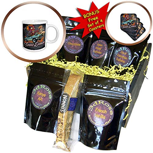 3dRose Flyland Designs - Dark, Devil, Cartoon, Car, Illustration - Speed-racing demon with a hot girl on his hot rod. - Coffee Gift Baskets - Coffee Gift Basket (cgb_295913_1)