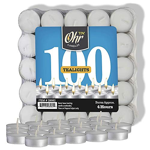 Unscented Tealight Candles - Ohr Tea Light Candles - 100 Bulk Pack - White Unscented Travel, Centerpiece, Decorative Candle - 4 Hour Burn Time - Pressed Wax