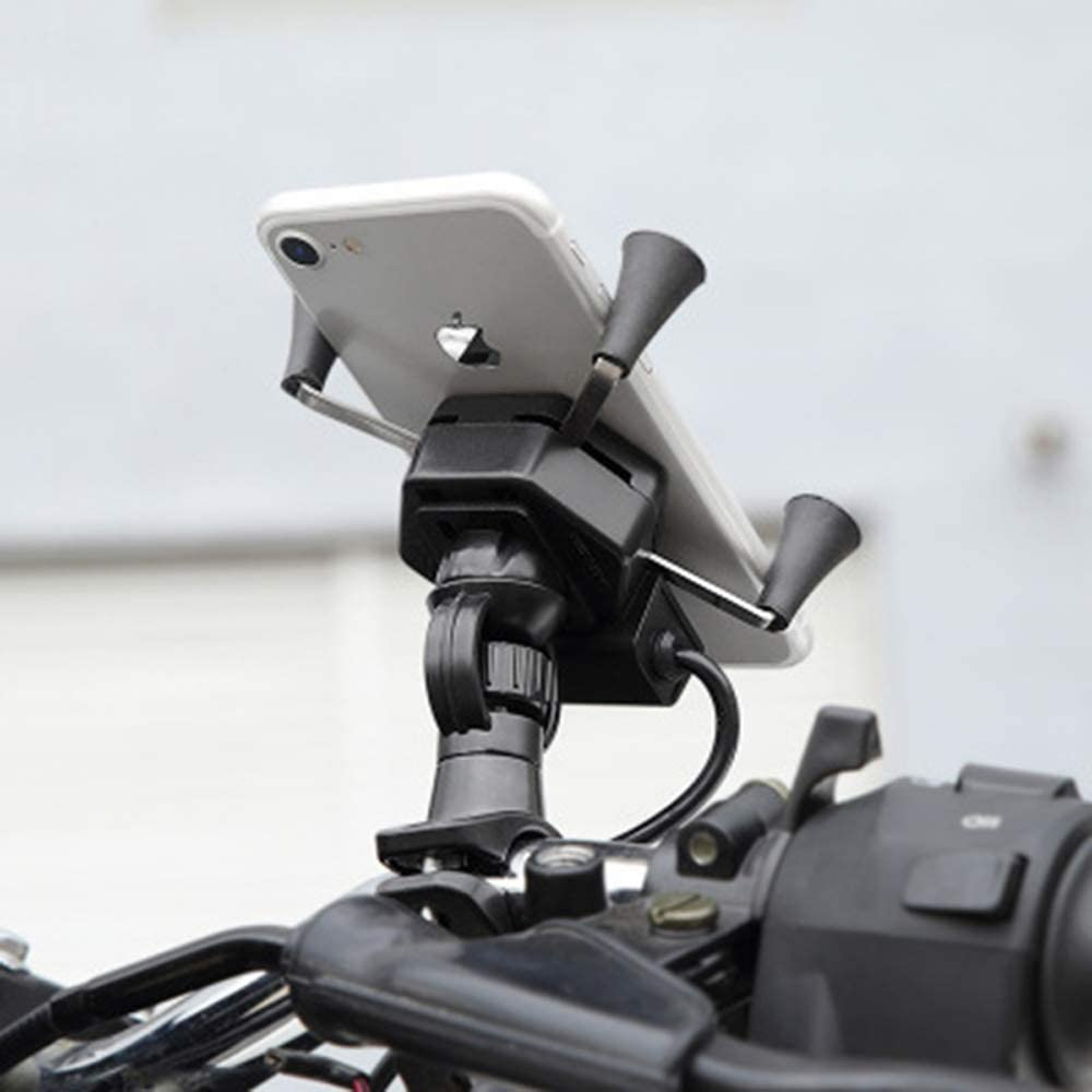 Color : A BLWX Motorcycle Bike Mobile Phone Stand Holder with USB Charger Socket X Type Mobile Phone Mount Bracket Galaxy S8 Mobile Phone Holder Cell Phone Stand