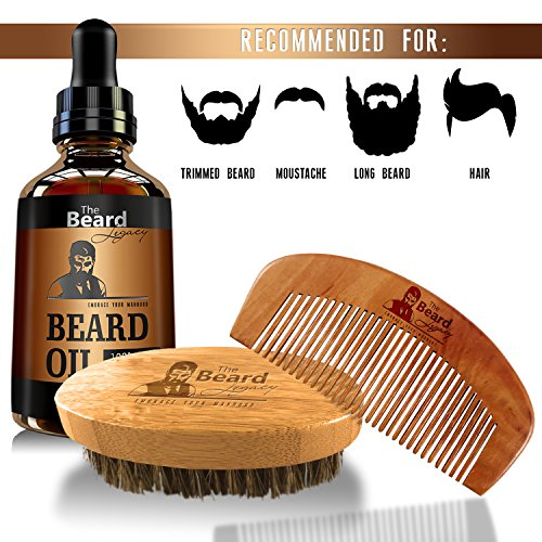 beard care kit comb brush oil luxury gift box made in usa 100 bamboo boar bristle. Black Bedroom Furniture Sets. Home Design Ideas