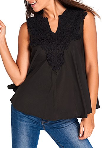 Yonas Women's Off Shoulder Embroidered Applique V Neck Blouse Tank Top(SIZE M/BLACK)