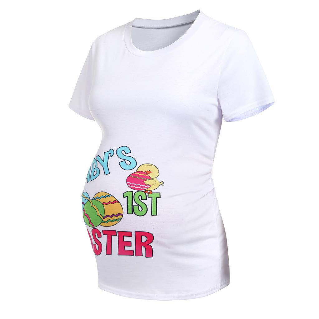 Winsummer Maternity Bumps First Easter Tshirt Adorable Easter Egg Chick Pregnancy Announcement Tee