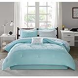Intelligent Design Toren Comforter Set Twin Size Bed in A Bag - Aqua, Medallion – 7 Piece Bed Sets – Ultra Soft Microfiber Teen Bedding for Girls Bedroom
