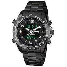 INFANTRY Men's Analog Digital Quartz Chronograph Wrist Watch Black Stainless Steel Bracelet