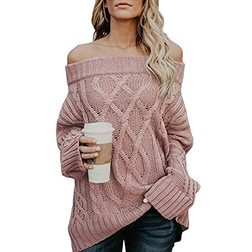 Casual Hiver Ample Tunique Pull Over Blouse Rose Epaules Chemisier Tricot Nues Pull Longue Femmes Manche laamei Pull Automne Sweater waIAA6