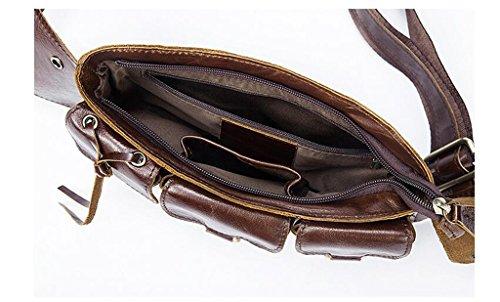 Pequeña Bolsa Hombro Resistentes 25x5x14CM Mochila de y Bolso 1 Hombre Piel Bolsos Cuero Pecho de Bolsos Autentico Sucastle Bandolera fRZBw