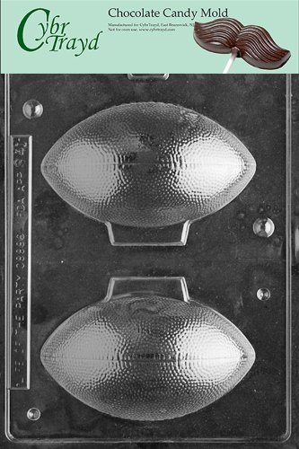 Cybrtrayd S041 3D Footballs Chocolate Candy Mold with Exclusive Cybrtrayd Copyrighted Chocolate Molding Instructions