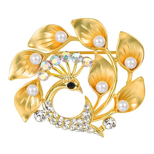 FOCALOOK Women's Cute Floral Calla Lily Shiny Rhinestones Crystal Pearl Gold Plated Phoenix Brooch Pin