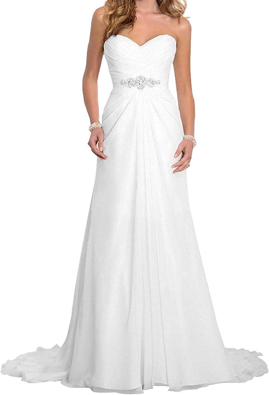 Romantic-Fashion Brautkleid Hochzeitskleid Wei/ß A-Linie Lang Chiffon Tr/ägerlos Strass Perlen Modell W063