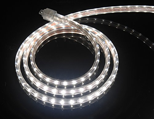 CBconcept UL Listed, 30 Feet, 3200 Lumen, 4000K Soft White, Dimmable, 110-120V AC Flexible Flat LED Strip Rope Light, 540 Units 3528 SMD LEDs, Indoor/Outdoor Use, Accessories Included, [Ready to use] Commercial Strip Light