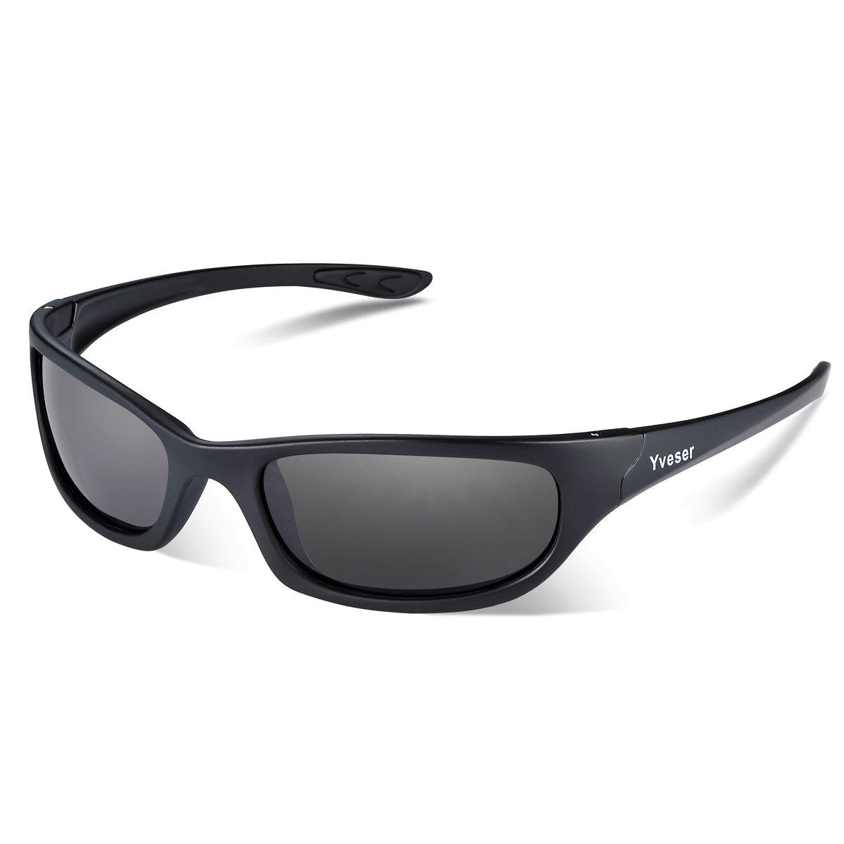 a3dbb560e0f8 Yveser Polarised UV400 Sports Sunglasses for Men   Women - Baseball Running  Cycling Fishing Driving Hiking Ski Golf Yv148 (Black Lens Black Matte Frame)   ...