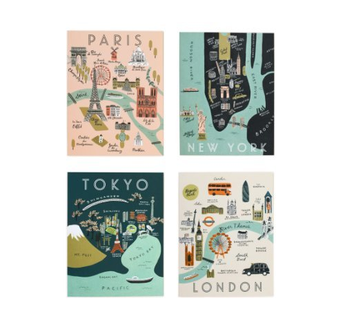 Assorted City Maps Note Cards by Rifle Paper Co. -- Set of 8 Cards and Envelopes (Map Note Card)